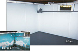 Basement Waterproofing before and after