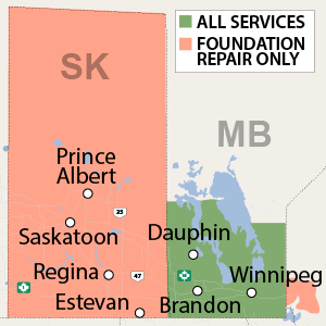 Our Manitoba service area map, showing our services in [cities], and nearby