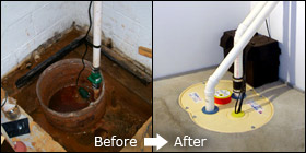 old sump pump and newly installed sump pump in Pickerel Narrows